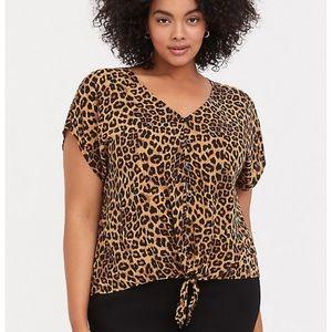 Leopard challis blouse
